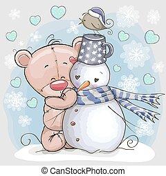 Teddy Bear and Snowman