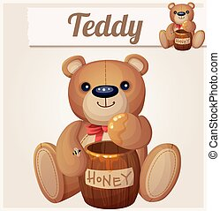 Teddy bear and the barrel of honey. Cartoon vector illustration
