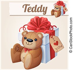 Teddy bear and the big gift box with red bow