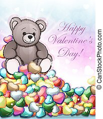 Teddy bear and Valentine hearts