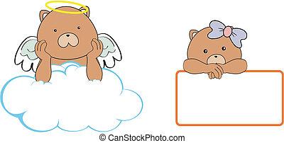 teddy bear  angel cartoon copyspace