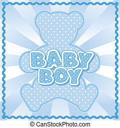 Teddy Bear Baby Boy - Polka dot teddy bear, baby boy block...