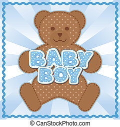 Teddy Bear Baby Boy - Polka dot teddy bear, baby boy block ...