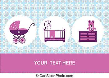 teddy bear, baby cradl, commode and baby pram, card design -...