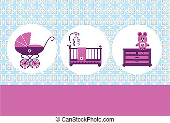 teddy bear, baby cradl, commode and baby pram, card design