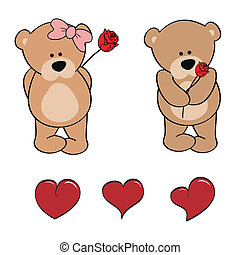 teddy bear baby cute cartoon set