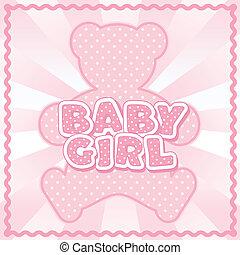Teddy Bear Baby Girl - Polka dot teddy bear, baby girl block...