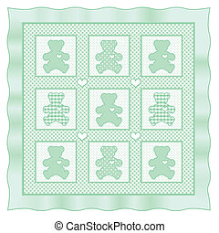Teddy Bear Baby Quilt, Pastel Green