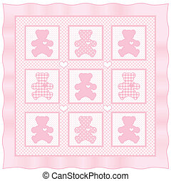 Teddy Bears with big hearts, vintage baby quilt design pattern in pastel pink and white gingham, polka dots, satin border. EPS8 compatible.