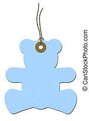 Teddy-bear Baby Shower Gift Tag - Blue teddy-bear gift tag ...