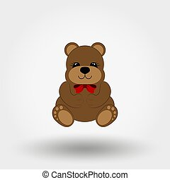 Teddy bear baby with red bow. Icon. Vector. Flat.