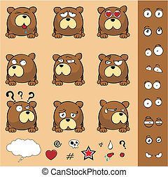 teddy bear ball cartoon set in vector format