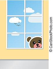 Teddy Bear behind window