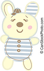 Teddy bear wearing a cute cap and a shirt with closed eyes