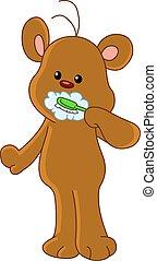 Teddy bear brushing teeth
