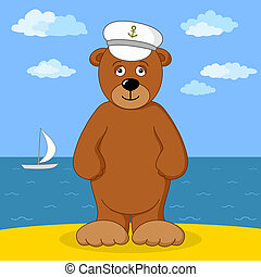 Teddy bear captain on sea coast