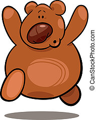 Teddy bear - cartoon illustration of running teddy bear