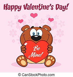 Teddy Bear Cartoon Mascot Character Holding A Valentine Love Heart With Text Be Mine