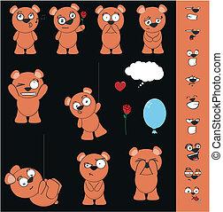 teddy bear cartoon set