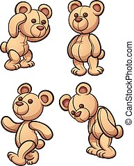 Cartoon teddy bear in different posses. Vector clip art illustration with siple gradients.