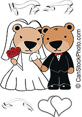 teddy bear cartoon wedding set