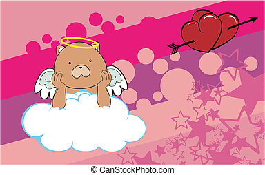 teddy bear cherub cartoon backgroun