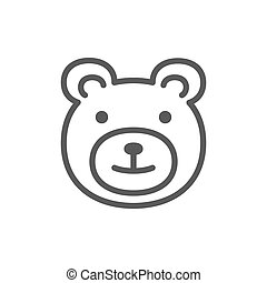 Teddy bear, childrens toy line icon.