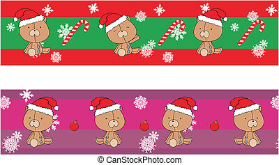 teddy bear claus cartoon banner
