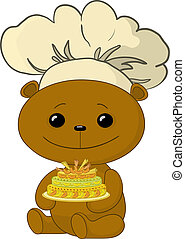 Teddy bear cook with cake