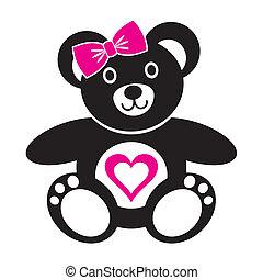 Teddy bear - Cute black teddy bear girl icon with heart on a...
