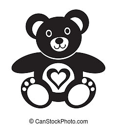Teddy bear - Cute black teddy bear icon with heart on white...