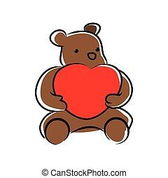 teddy bear doll holding heart