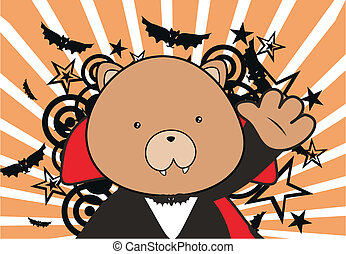 teddy bear dracula cartoon backgrou