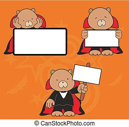 teddy bear dracula cartoon signboard