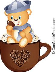 Teddy bear drinking hot coffee