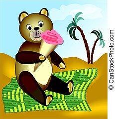 Teddy bear eating ice cream on green blanket