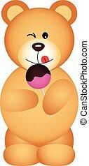 Teddy bear eating lollipop