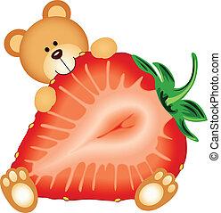 Teddy Bear Eating Strawberry Sliced
