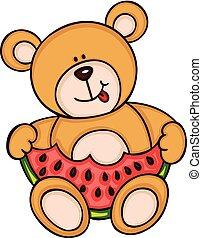 Teddy bear eating watermelon