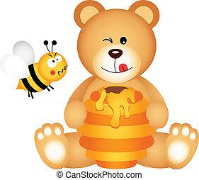 Teddy bear eats honey and bee angry