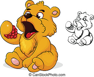 teddy bear eats raspberries