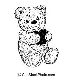 Teddy bear engraving vector illustration