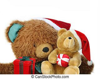 Teddy bear family holding presents at Christmas