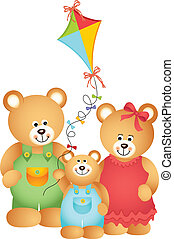Teddy Bear Family - Scalable vectorial image representing a...