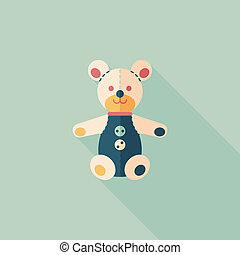 teddy bear flat icon with long shadow