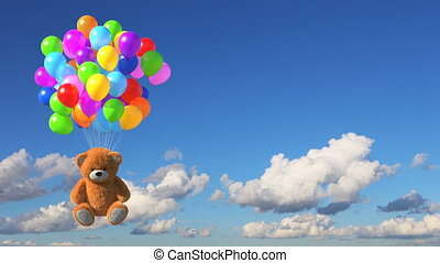 Teddy Bear Flies Away on Multicolored Balloons against Time-Lapse Sky Background, Beautiful 3d Animation. Ultra HD 4K 3840x2160