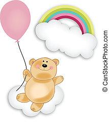 Teddy bear floating