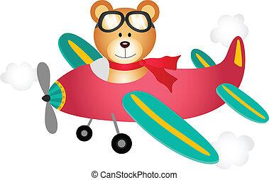 Teddy bear fly on a airplane