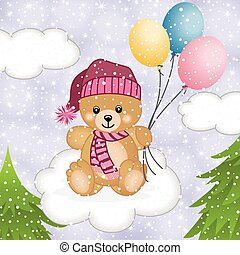 Teddy bear flying balloons in snow