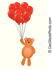 Teddy Bear Flying on Red Balloons Isolated